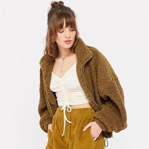 Urban Outfitters Fleece Drawstring Teddy Jacket